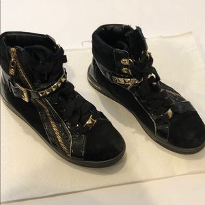 Black and Gold Michael Kors Sneakers